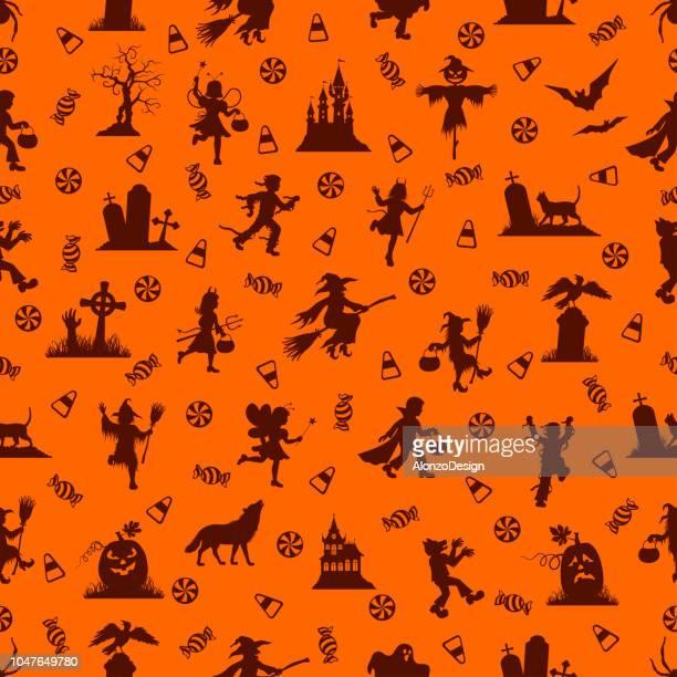 ilustraciones, imágenes clip art, dibujos animados e iconos de stock de halloween patrón perfecto. - bruja
