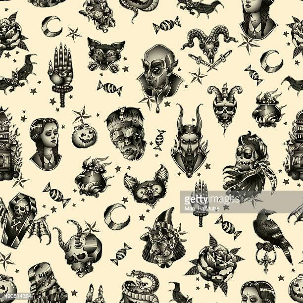 halloween seamless pattern - goth stock illustrations, clip art, cartoons, & icons