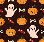 Halloween seamless pattern with cute kawaii