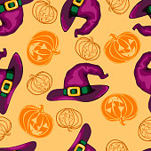 Halloween seamless pattern with witch hats and pumpkins in orange and violete colors. Vector 10 EPS illustration.