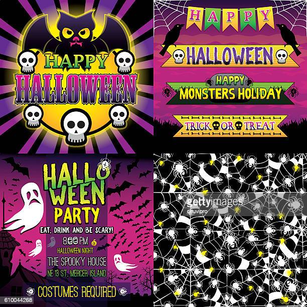 Halloween Set of frame, ribbons, invitation and seamless pattern