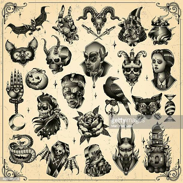 halloween set - terminal illness stock illustrations, clip art, cartoons, & icons