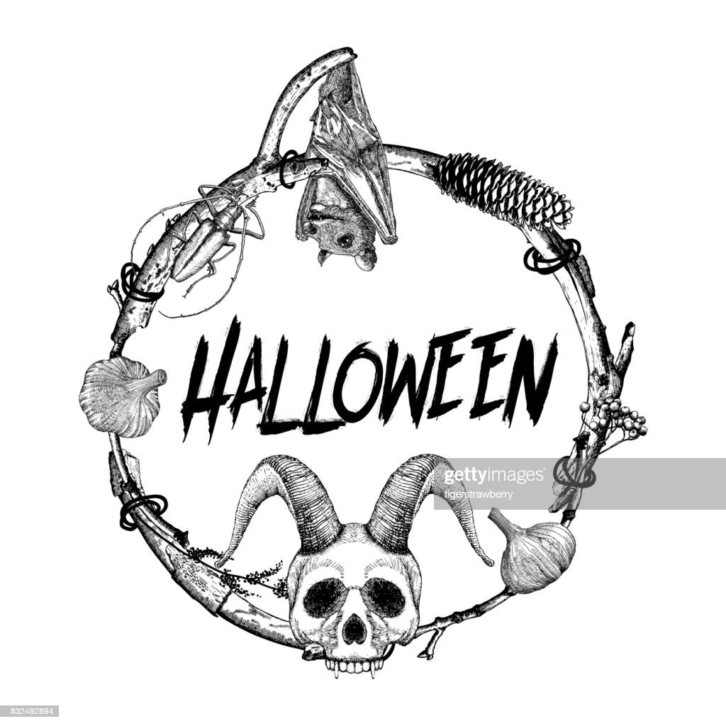 Halloween Sign And Poster Halloween Decoration In Twig Frame Hand ...