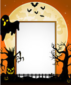 Halloween sign with black ghost , flying bats, spooky tree