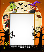 Halloween sign with dracula , frankenstein , witch riding broomstick , scary tree