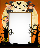 Halloween sign with little boy and girl witch , cat costume