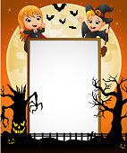 Halloween sign with little girl dracula , little boy witch , spooky tree