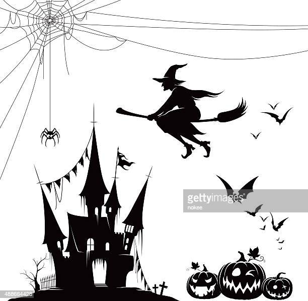 halloween silhouette set - spider stock illustrations