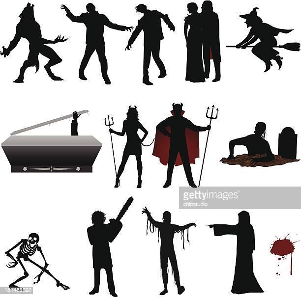ilustrações de stock, clip art, desenhos animados e ícones de dia das bruxas silhueta - lobisomem