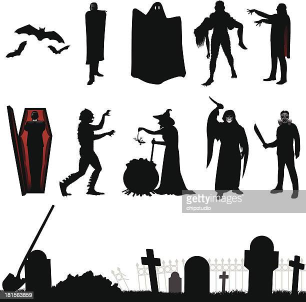 halloween silhouette - buried stock illustrations, clip art, cartoons, & icons