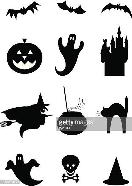 halloween silhouettes icons - pumpkin cats stock illustrations
