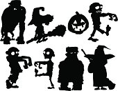 Halloween silhouettes with zombies etc