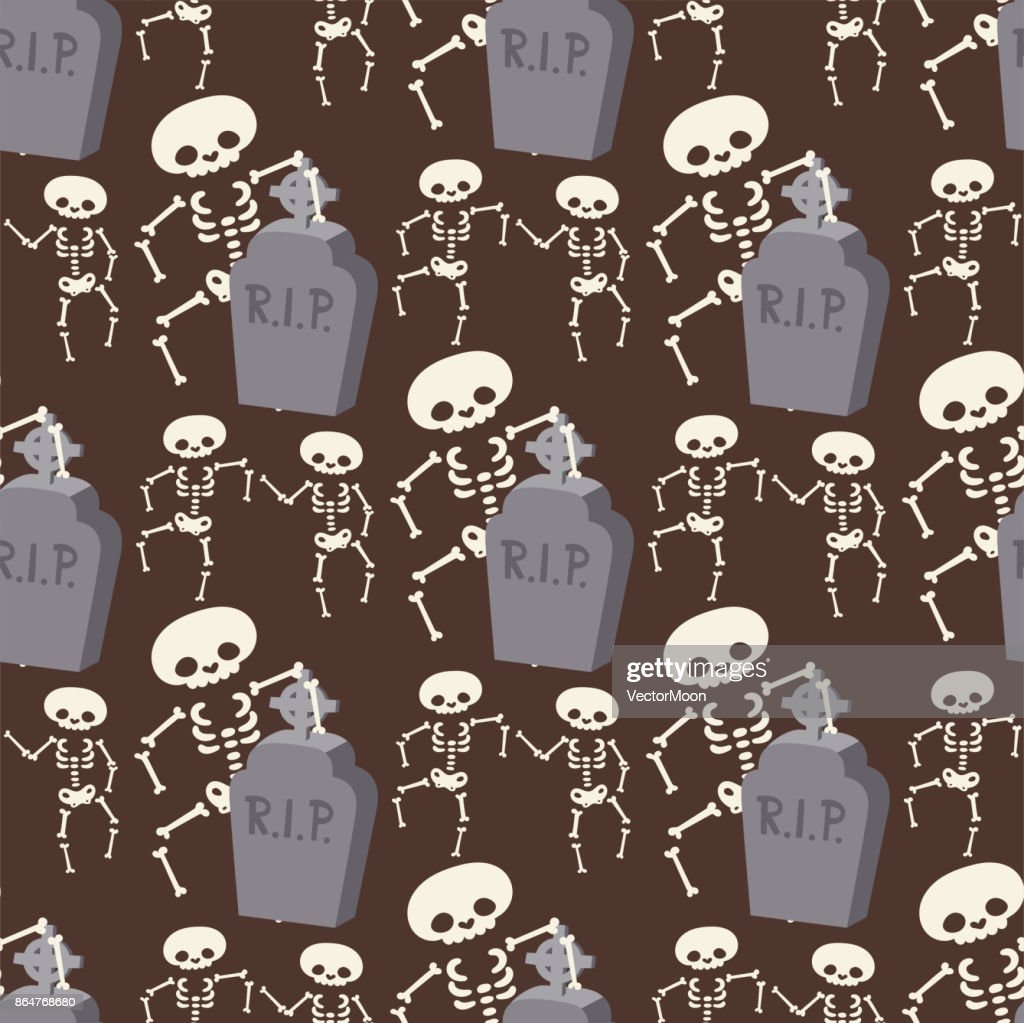 Halloween skeleton seamless pattern background night rip party trick or treat candies vector illustration