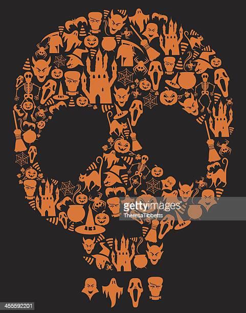 halloween skull - pumpkin cats stock illustrations
