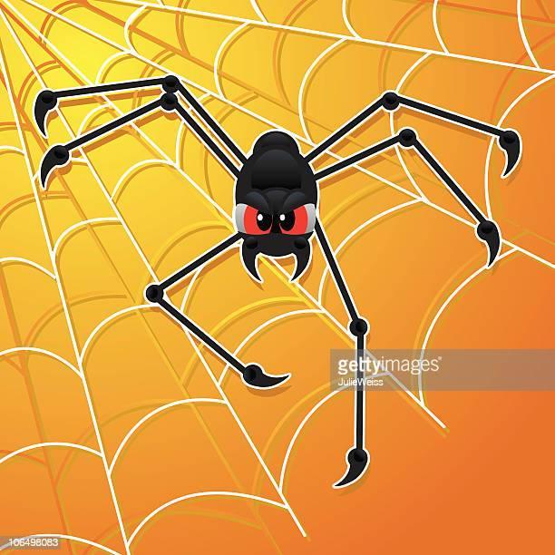 halloween spider - black widow spider stock illustrations, clip art, cartoons, & icons