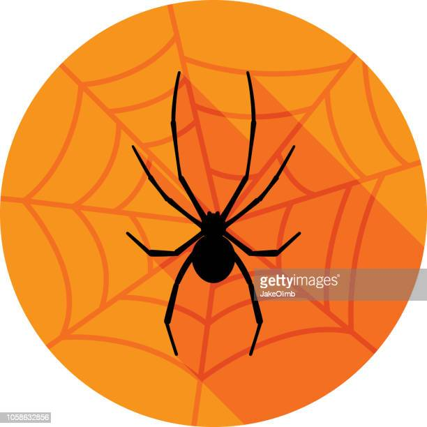 halloween spider with web icon silhouette - black widow spider stock illustrations, clip art, cartoons, & icons