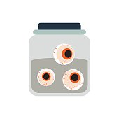 Halloween spooky embalmed eyes in jar vector.