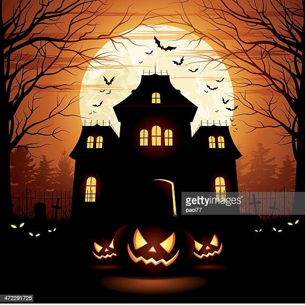 halloween spooky house - house stock illustrations