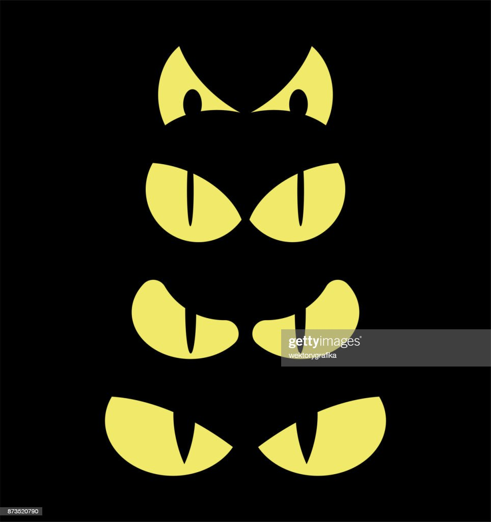 halloween spooky scary eyes  vector  design isolated on black background