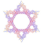 Halloween Star of David. Human hand bones and dog-rose flowers arranged in antcient religious symbol of Judaism.