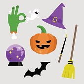 Halloween sticker pack. Set of halloween icons. Pumpkin, broomstick, witch hat, zombie hand, ghost, bat, magic wand and crystal ball