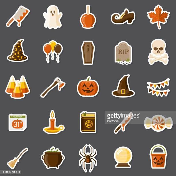 halloween-aufkleber-set - aufkleber stock-grafiken, -clipart, -cartoons und -symbole