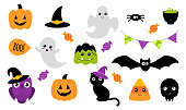 Halloween stickers. Isolated on white. Vector