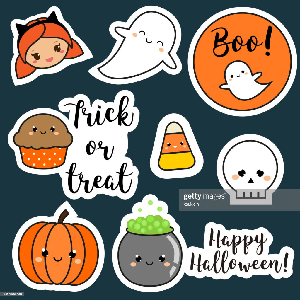 Halloween stickers, patches, badges. Cute pumpkin, ghosts, kids and other holiday symbols in kawaii style