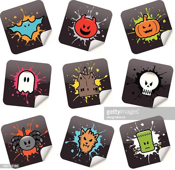 halloween stickers - werewolf stock illustrations, clip art, cartoons, & icons