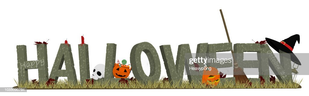 Halloween stone alphabet and the accessories in the graveyard