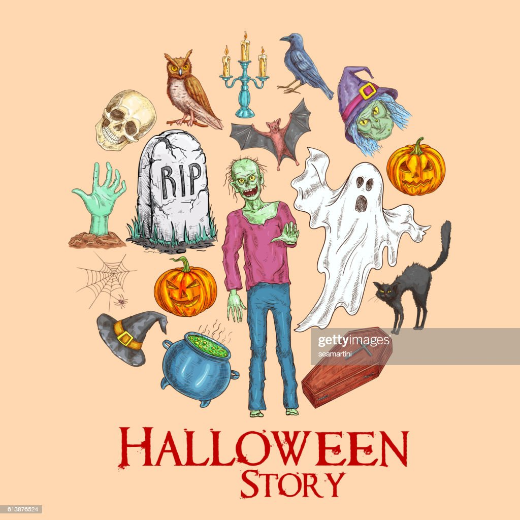 Halloween Story Emblem With Sketch Symbols Vector Art Getty Images