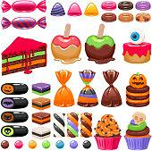 Halloween sweet treats set. Candies and snacks