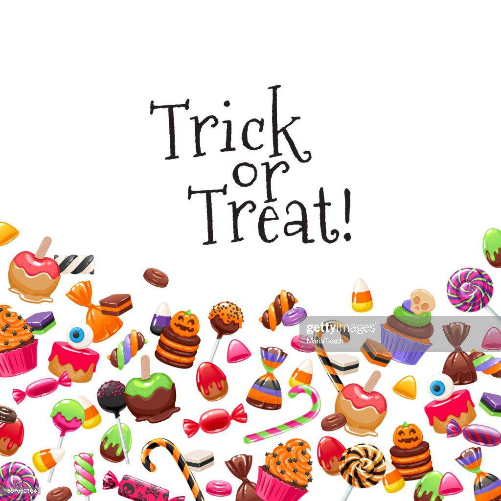Halloween sweets background. Candies and snacks