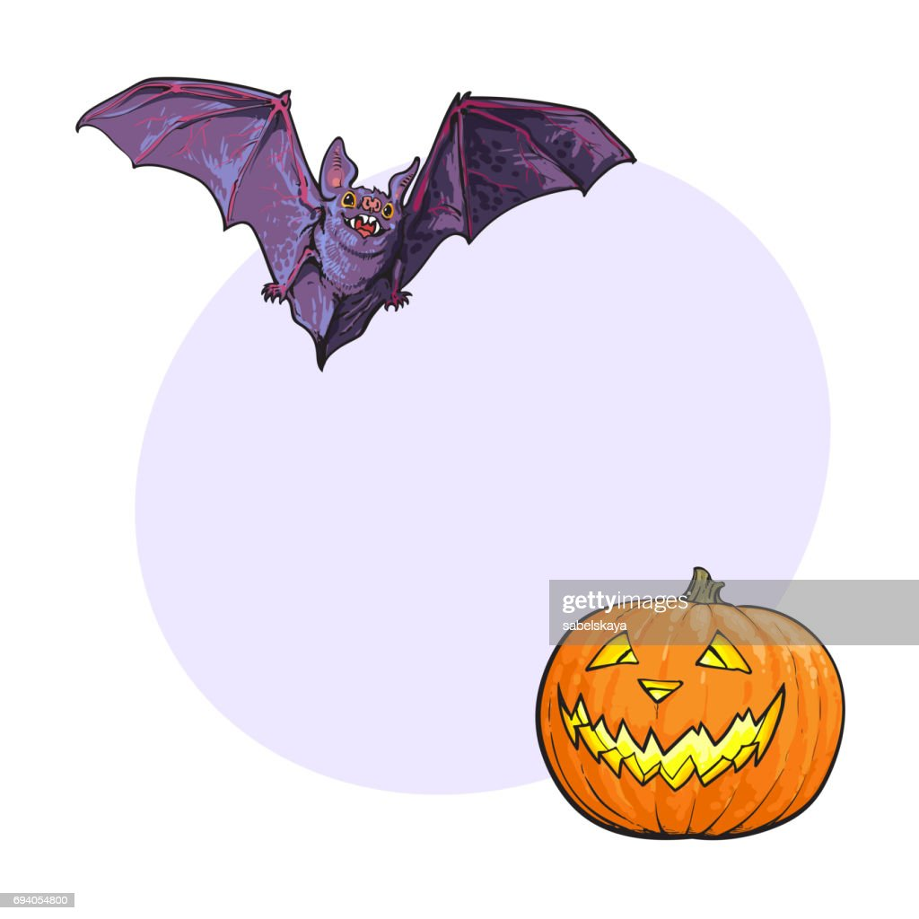 Halloween Symbols Pumpkin Jack O Lantern And Flying Vampire Bat