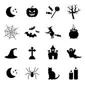 Halloween symbols. Vector icon set.