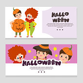 halloween theme banner with clown