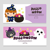halloween theme banner with lovable cartoon character