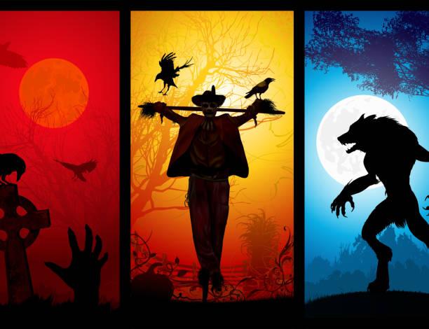 halloween theme - fantasy stock illustrations