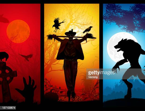 halloween theme - howling stock illustrations, clip art, cartoons, & icons