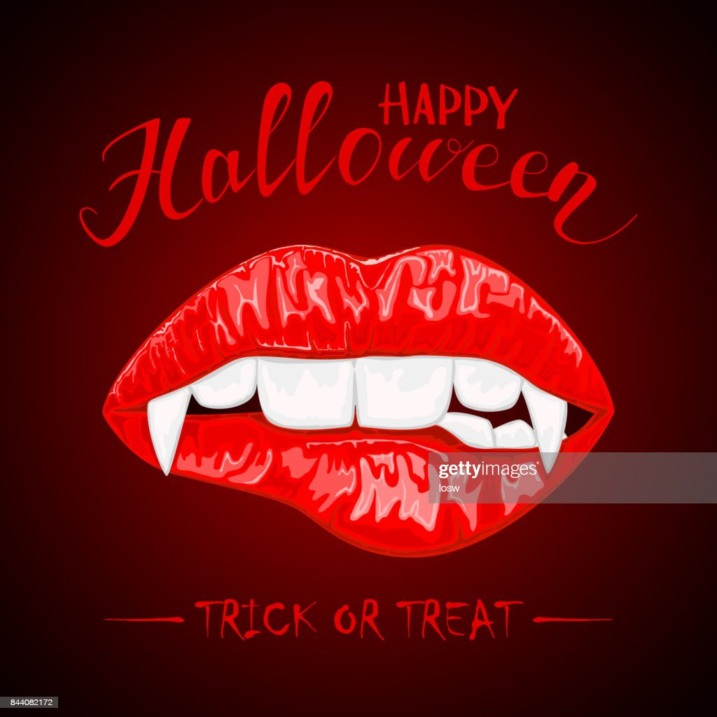 Halloween theme with red female lips and vampire fangs