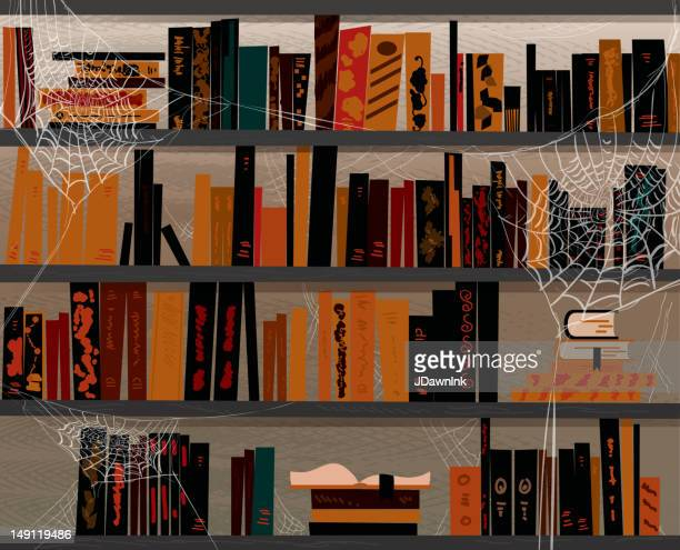 halloween themed book library with cobwebs - library stock illustrations