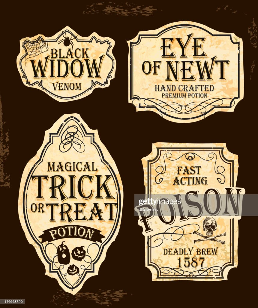 Halloween themed old fashioned label designs : stock illustration