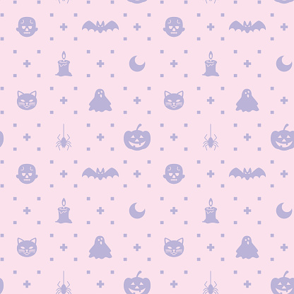 Halloween themed silhouette icon seamless pattern - gettyimageskorea