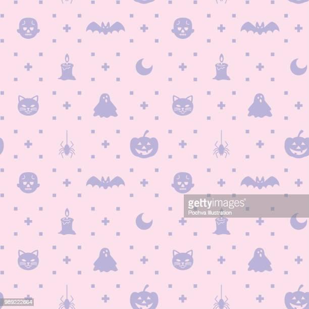 halloween themed silhouette icon seamless pattern - halloween cats stock illustrations