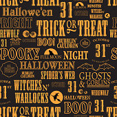 Hallowe'en themed words repeating seamless orange and black background