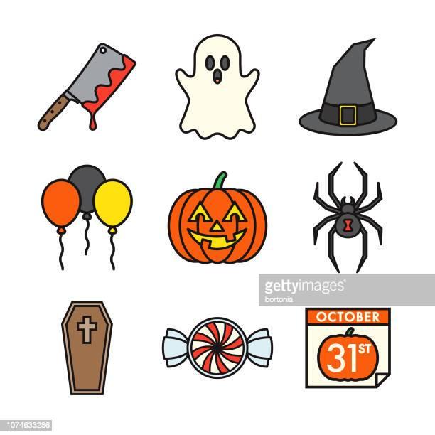 halloween thin line icon set - jack o lantern stock illustrations, clip art, cartoons, & icons