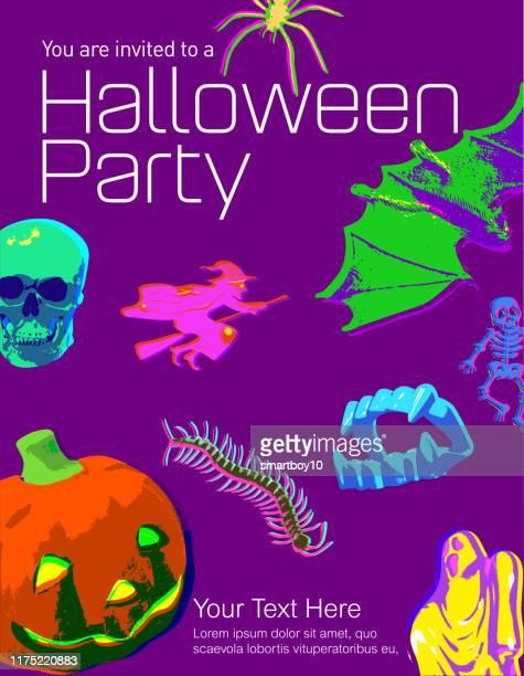 ilustrações de stock, clip art, desenhos animados e ícones de halloween toy icons poster - centopeia