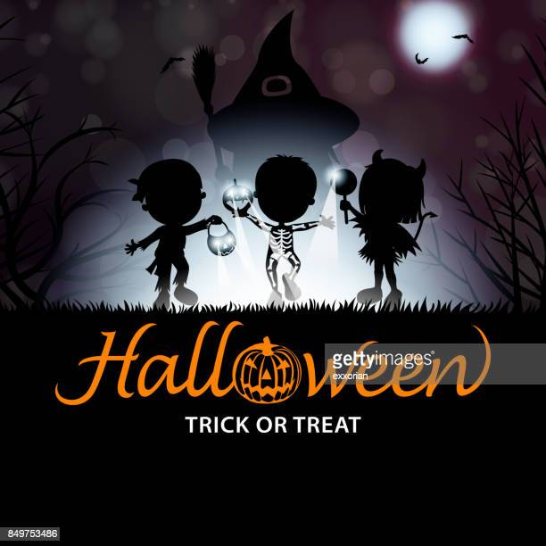 Halloween Trick or Treat Kids Silhouette