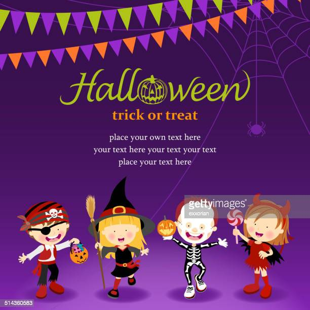 halloween trick or treat - traditional clothing stock illustrations