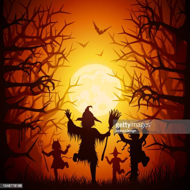 halloween trick or treaters - stage costume stock illustrations